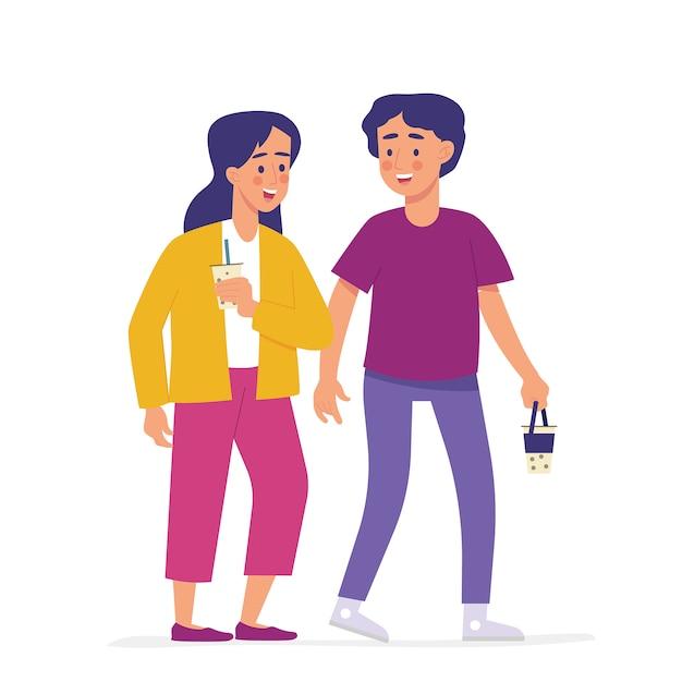 Chłopiec I Dziewczynka Chodzą Swobodnie Niosąc Mleko Boba Premium Wektorów