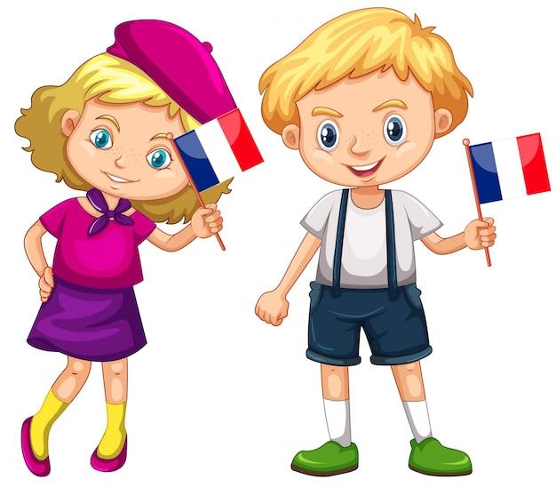 Chłopiec I Dziewczynka Gospodarstwa Flaga Francji Darmowych Wektorów