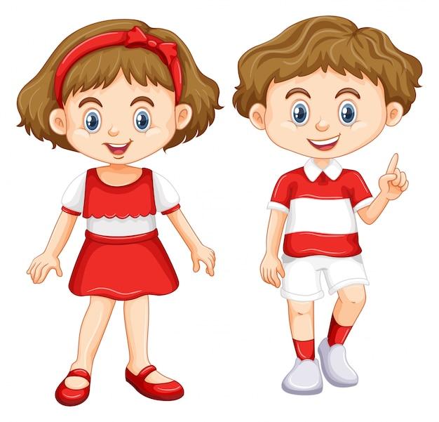 Chłopiec i dziewczynka nosi koszulę z czerwonym i białym paski Darmowych Wektorów