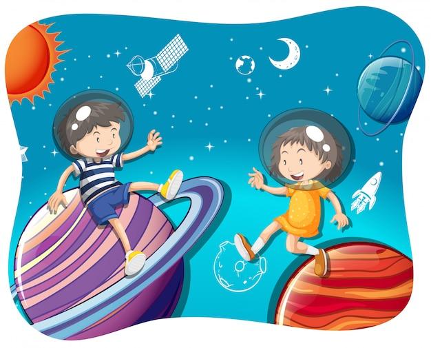 Chłopiec I Dziewczynka Pływające W Przestrzeni Darmowych Wektorów