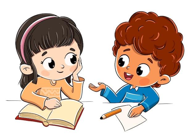 Chłopiec I Dziewczynka Rozmawia W Klasie Rozmawia Premium Wektorów