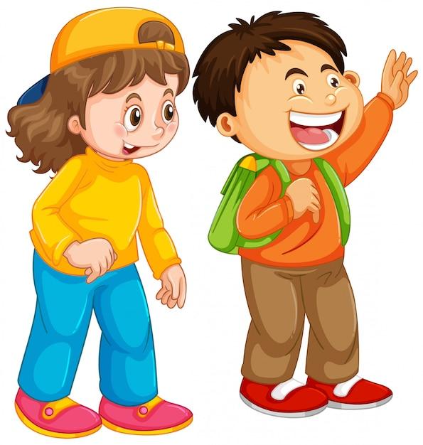 Chłopiec i dziewczynka student charakter Darmowych Wektorów