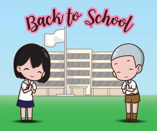 Chłopiec i dziewczynka w szkole na powrót do szkoły. Premium Wektorów