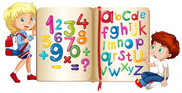 Chłopiec I Dziewczynka Według Książki Liczb I Alfabetów Darmowych Wektorów