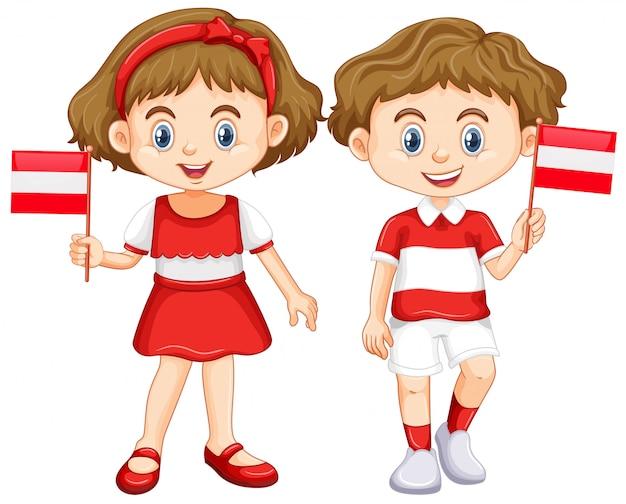 Chłopiec I Dziewczynka Z Flagą Austrii | Darmowy Wektor
