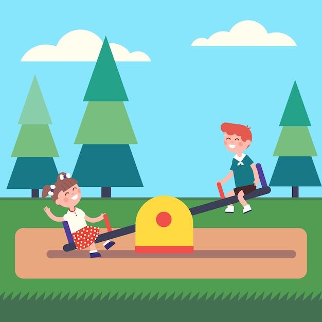 Chłopiec i dziewczynki huśtanie się na huśtawce w parku Darmowych Wektorów