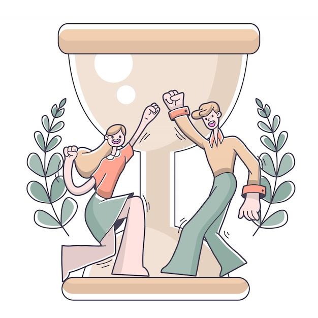 Chłopiec i dziewczyny sukcesu bramkowa ilustracja Premium Wektorów