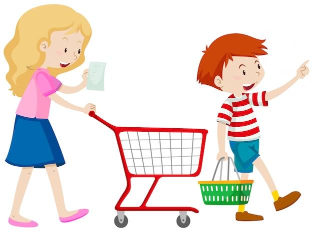 Chłopiec I Matka Zakupy Do Sklepu Spożywczego | Darmowy Wektor