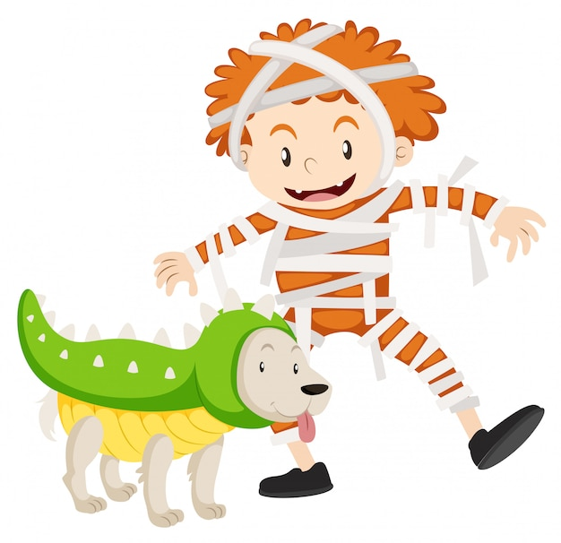 Chłopiec i pies w kostiumy na halloween Darmowych Wektorów