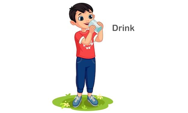 Chłopiec Ilustracja Kreskówka Woda Pitna Premium Wektorów