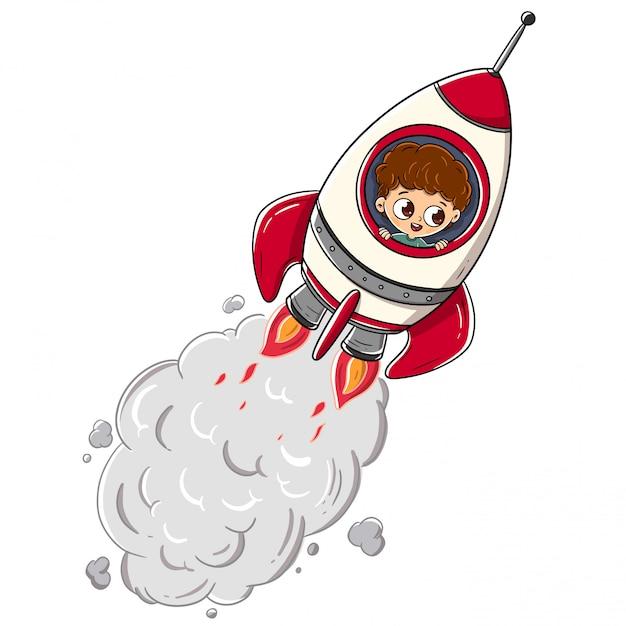 Chłopiec jedzie rakietę podróżuje przez przestrzeni Premium Wektorów