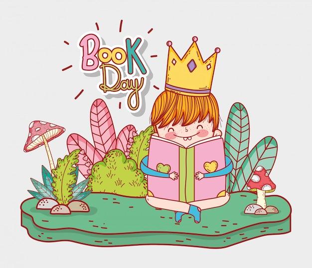 Chłopiec jest ubranym koronę czyta książkę z roślinami Premium Wektorów