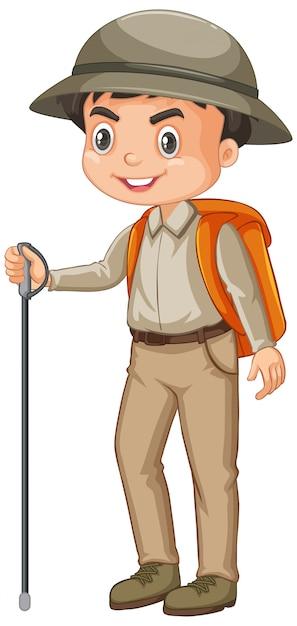 Chłopiec Jest Ubranym Safari Strój Na Białym Tle Darmowych Wektorów