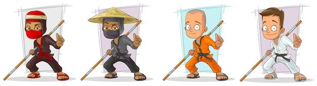 Chłopiec Karate Kreskówka I Zestaw Znaków Ninja Premium Wektorów