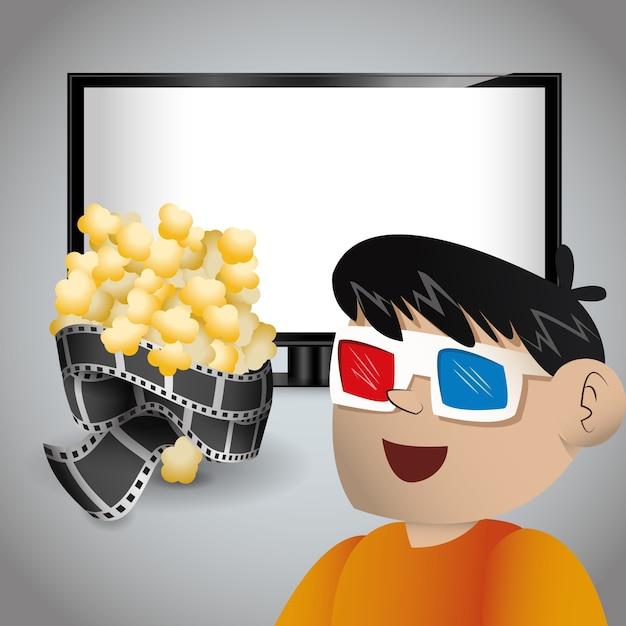 Chłopiec kino 3d okulary tv i pop corn Premium Wektorów