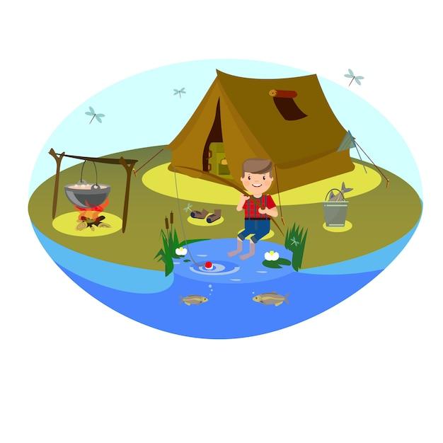 Chłopiec łowi na jeziorze. camping na polanie i ognisku Premium Wektorów