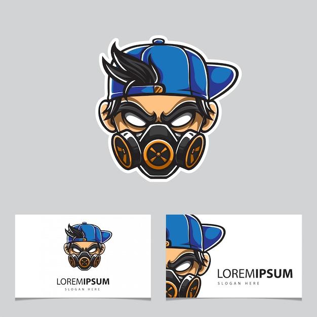 Chłopiec Miejski Z Logo Maski Gazowej Premium Wektorów