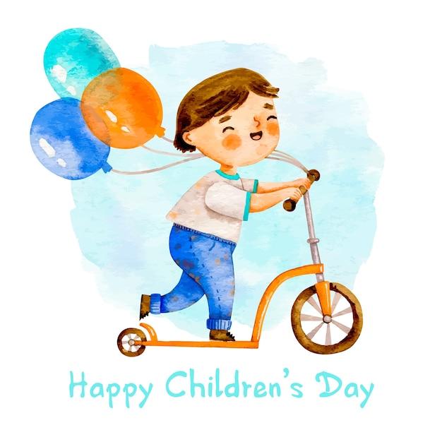 Chłopiec Na Hulajnoga Z Balonami Darmowych Wektorów