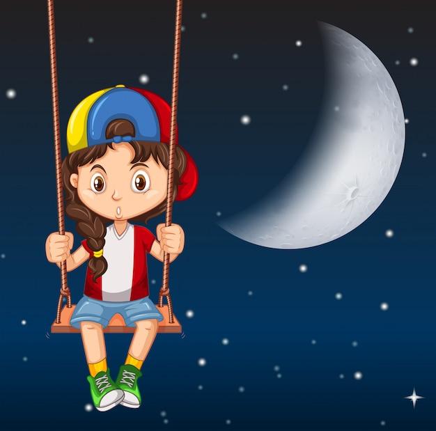 Chłopiec na huśtawce w nocy Darmowych Wektorów