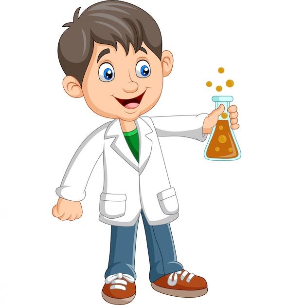 Chłopiec naukowiec kreskówka trzymając probówkę Premium Wektorów