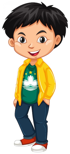Chłopiec nosi koszulkę z flagą makau Darmowych Wektorów