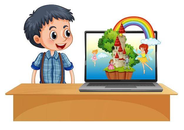 Chłopiec Obok Laptopa Na Biurku Z Fantazją Darmowych Wektorów