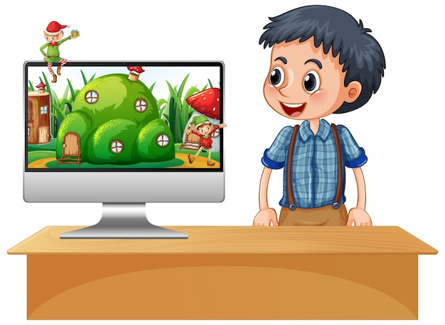 Chłopiec Obok Laptopa Na Biurku Ze Sceną Fantasy Darmowych Wektorów