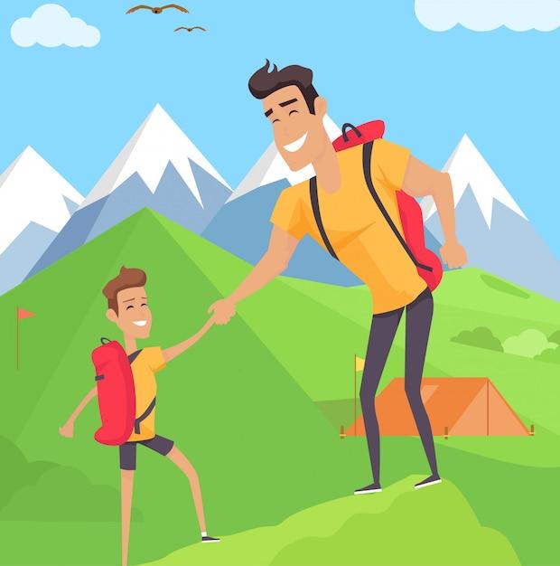 Chłopiec pięcie z ojcem w górach Premium Wektorów