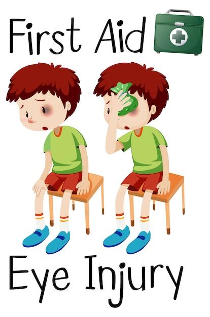 Chłopiec pierwszej pomocy uraz oka Darmowych Wektorów