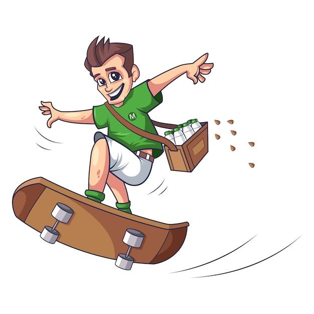 Chłopiec Robi łyżwiarstwie Wektorowi Projekt Premium Wektorów