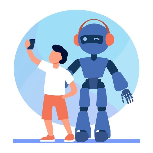 Chłopiec Robiący Selfie Z Humanoidem. Dziecko Z Cyborgiem, Dziecko Z Ilustracji Wektorowych Płaski Robot. Robotyka, Inżynieria, Dzieciństwo Darmowych Wektorów