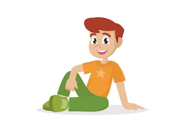 Chłopiec Siedzi Na Podłodze. Premium Wektorów