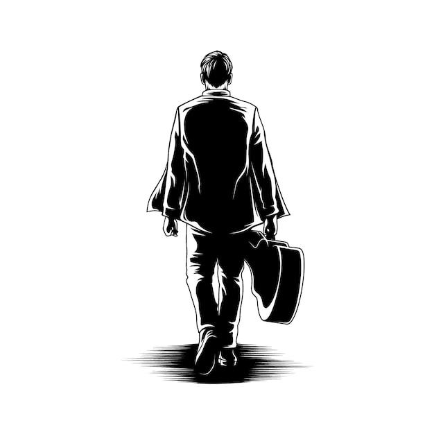 Chłopiec Spacer Z Gitara Widoku Z Powrotem Ilustracją Premium Wektorów