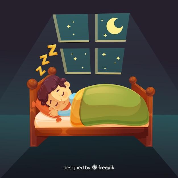 Chłopiec śpi w łóżku Darmowych Wektorów