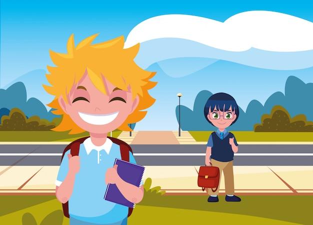 Chłopiec Studentów Z Torbami Na Ulicy Premium Wektorów