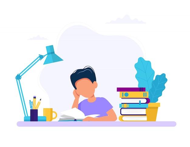 Chłopiec Studiuje Z Książką. Premium Wektorów
