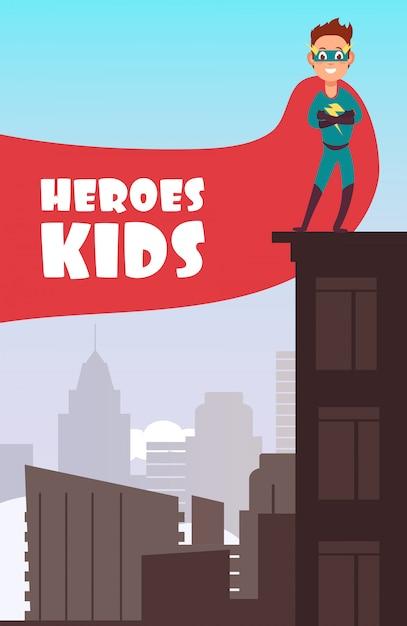 Chłopiec Superbohater Z Czerwoną Peleryną Na Plakat Super Dzieci Budynków Miasta Premium Wektorów