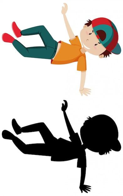 Chłopiec Tańczy Z Jego Sylwetka Darmowych Wektorów