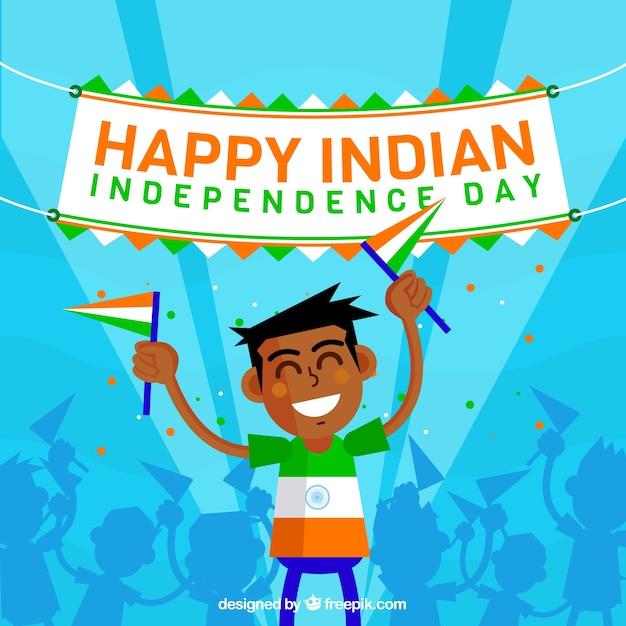 Chłopiec tle świętuje dzień niepodległości indii Darmowych Wektorów