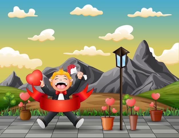 Chłopiec Trzyma Kwiat I Serce Na Walentynki Premium Wektorów