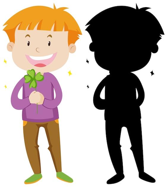 Chłopiec Trzyma Liść Koniczyny W Kolorze I Sylwetce Darmowych Wektorów