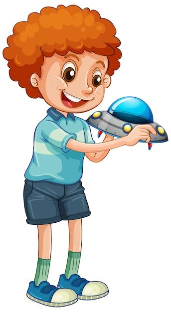 Chłopiec Trzyma Zabawki Ufo Darmowych Wektorów
