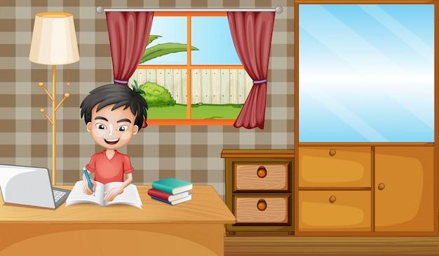 Chłopiec Uczy Się W Domu Darmowych Wektorów