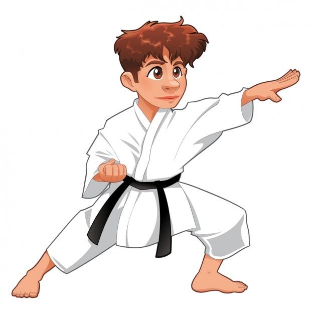 Chłopiec Uprawiania Karate Darmowych Wektorów