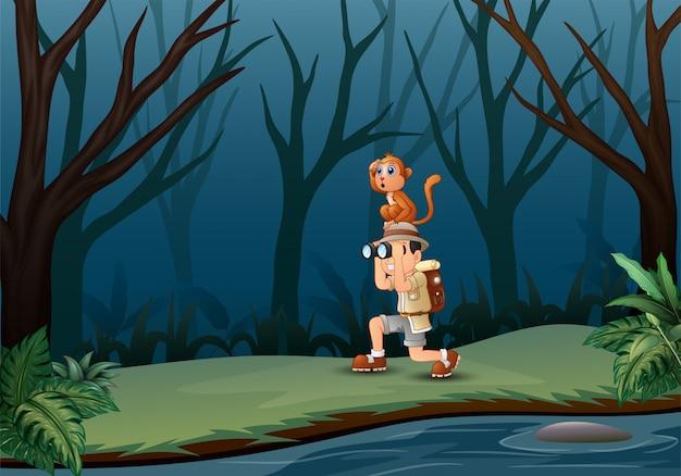 Chłopiec Używa Lornetki Z Małpą W Ciemnym Lesie Premium Wektorów