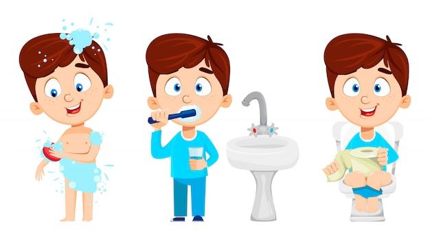 Chłopiec w łazience, zestaw trzech poz. Premium Wektorów