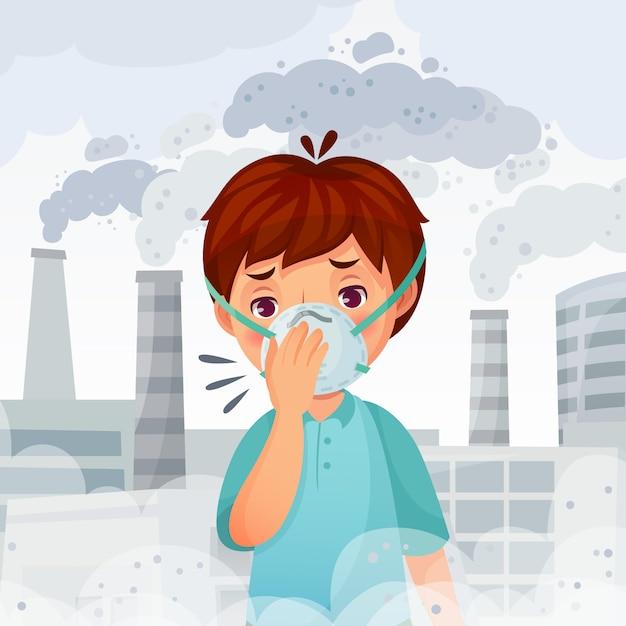 Chłopiec W Masce N95. Ilustracja Pyłu Pm 2.5 Zanieczyszczenia Powietrza, Ochrona Oddechu Młodych Mężczyzn I Bezpieczna Maska Na Twarz Premium Wektorów