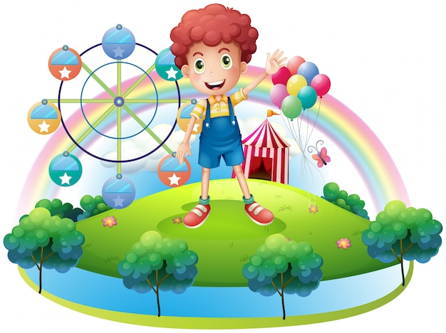 Chłopiec W Pobliżu Parku Rozrywki Premium Wektorów