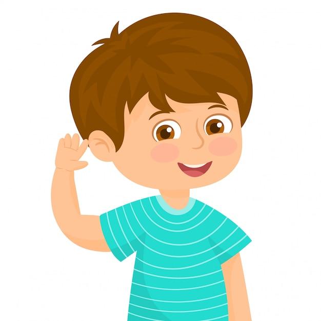 Chłopiec w słuchającym gescie Premium Wektorów