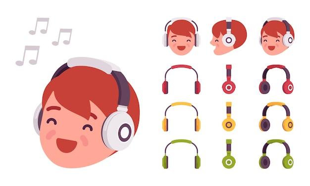 Chłopiec w słuchawkach Premium Wektorów